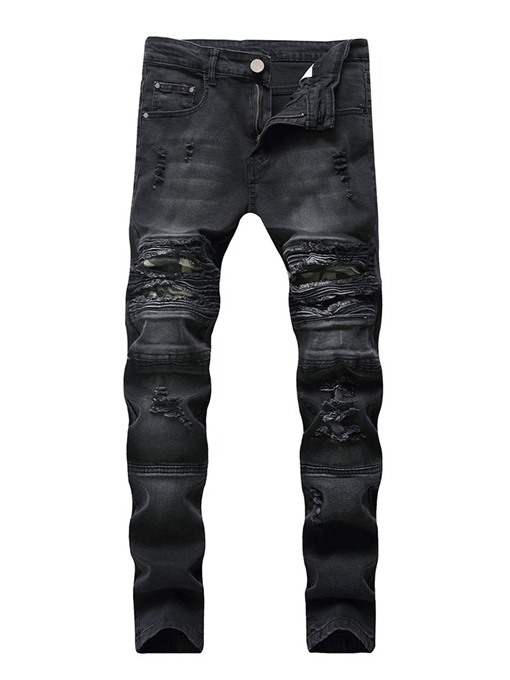 Ericdress Plain Worn Mid Waist Mens Casual Ripped Jeans