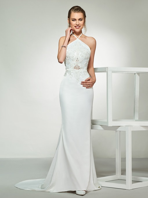Mermaid Appliques Beading Backless Wedding Dress