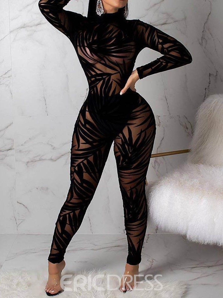 Ericdress See-Through Plant Party/Cocktail Sexy High Waist Jumpsuit