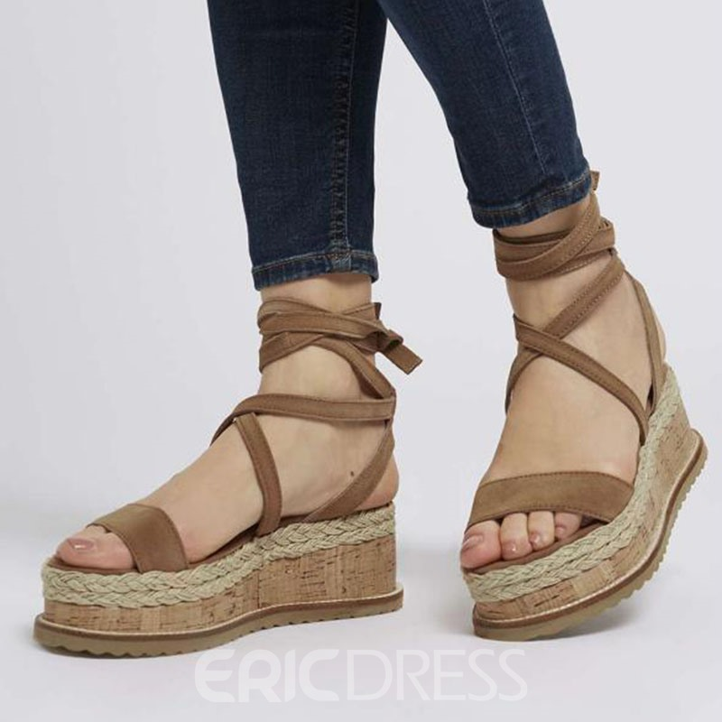 8c864629609 Ericdress Faux Suede Wedge Heel Cross Strap Women s Sandals 13764793 ...