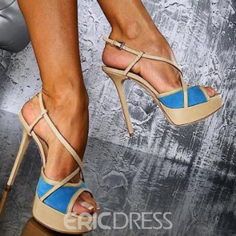 Ericdress PU Stiletto Heel Peep Toe Color Block Women's Sandals