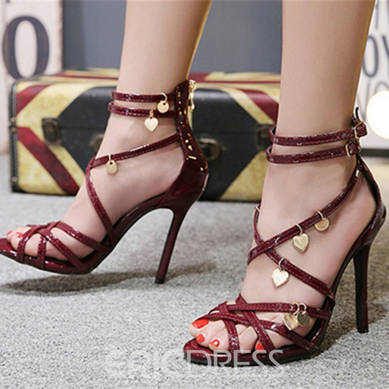 Ericdress Plain Zipper Stiletto Heel Heel Covering Women's Sandals