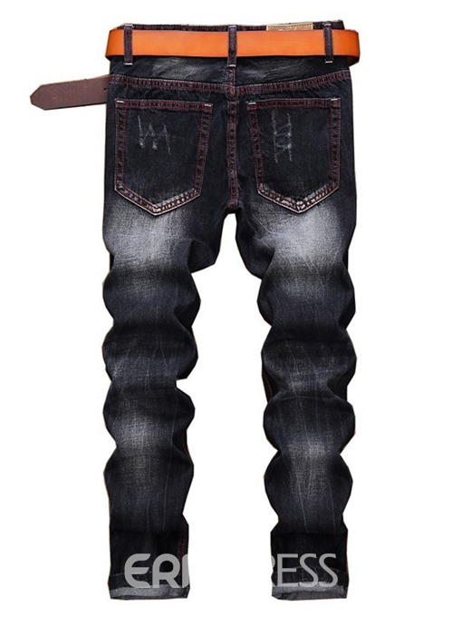 Ericdress Embroidery Straight Mens Casual Zipper Ripped Jeans