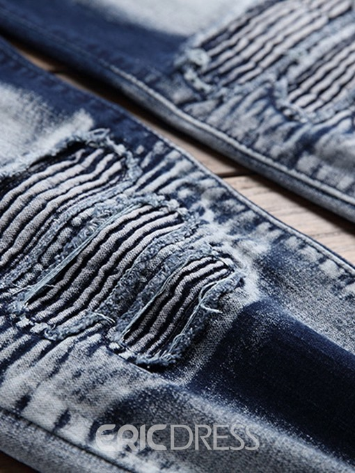 Ericdress Embroidery Pleated Worn Mens Casual Mid Waist Casual Jeans