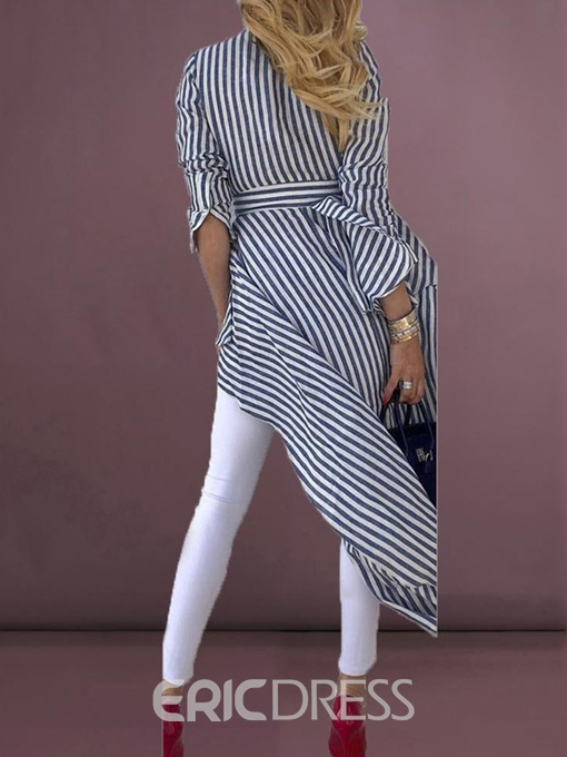 Ericdress Asymmetric V-Neck Stripe Lace-Up Blouse