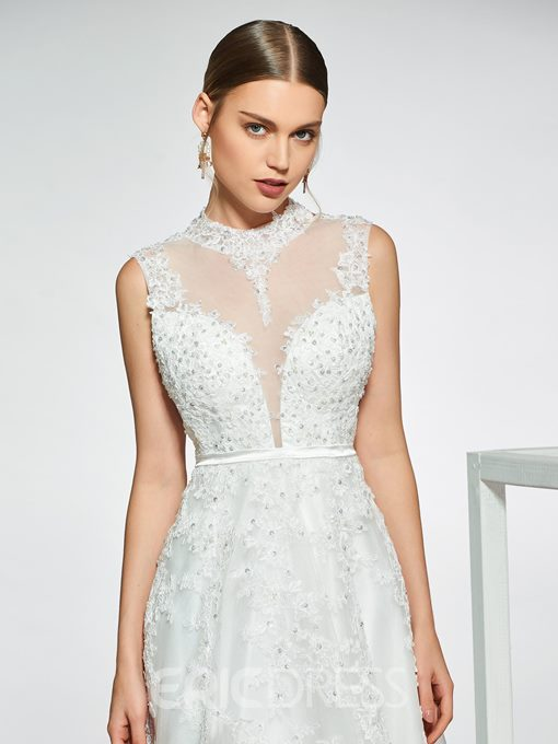 Ericdress Appliques Sequins Hollow Back Wedding Dress 2019