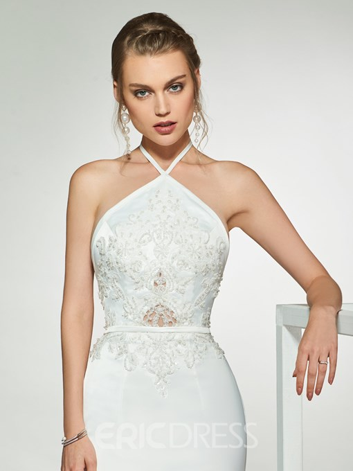 Mermaid Appliques Beading Halter Wedding Dress 2019