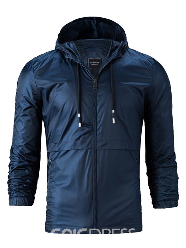 Ericdress Plain Lace-Up Hooded Mens Casual Jacket
