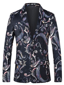Ericdress Floral Print Two Button Notched Lapel Mens Casual Blazer