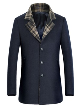 Ericdress Plain Stand Collar Pocket Single Breasted Mens Casual Wool Coat