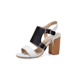 Ericdress PU Color Block Strappy Chunky Heel Women's Sandals