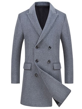 Ericdress Plain Double Breasted Mens Mid-Length Wool Coat