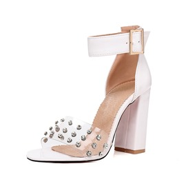Ericdress PVC Rhinestone Heel Covering Chunky Heel Women's Sandals