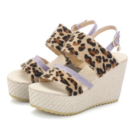 Ericdress Leopard Print Faux Suede Strappy Wedge Heel Women's Sandals