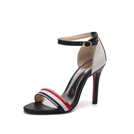 Ericdress Rhinestone Color Block Stiletto Heel Women's Sandals