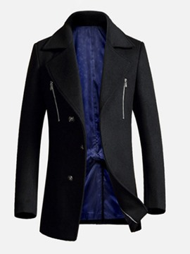 Ericdress Plain Notched Lapel Zipper Mens Slim Wool Coat