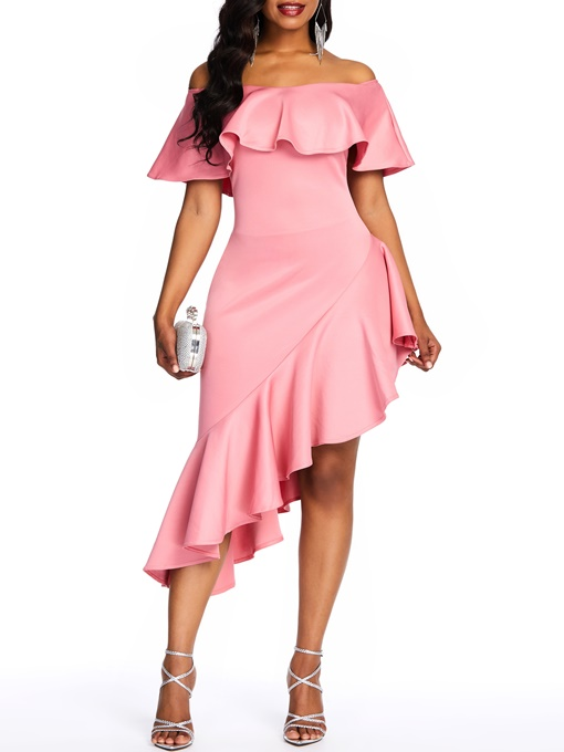 Ericdress Patchwork Half Sleeve Off Shoulder Off Shoulder Elegant Dress