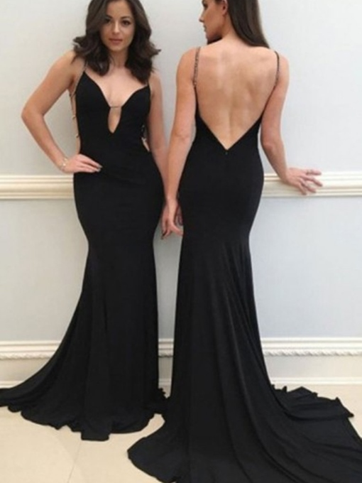 Beading Spaghetti Straps Backless Black Evening Dress
