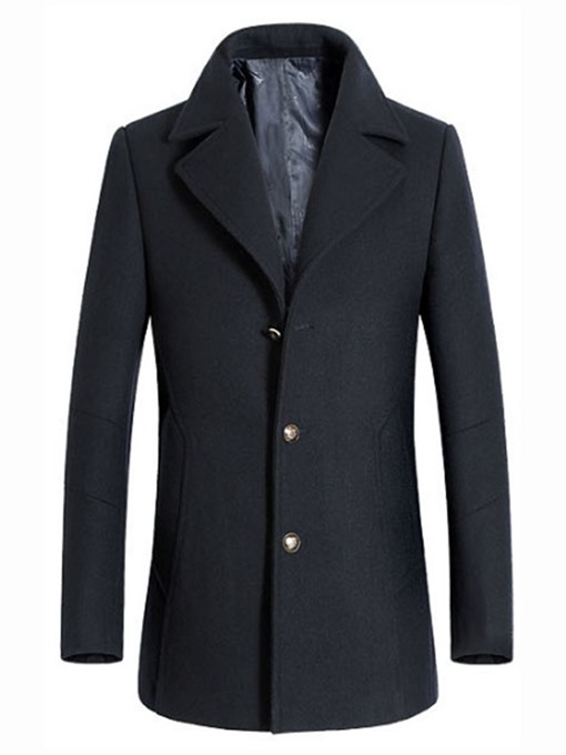 Ericdress Plain Notched Lapel Mens Casual Slim Wool Coat