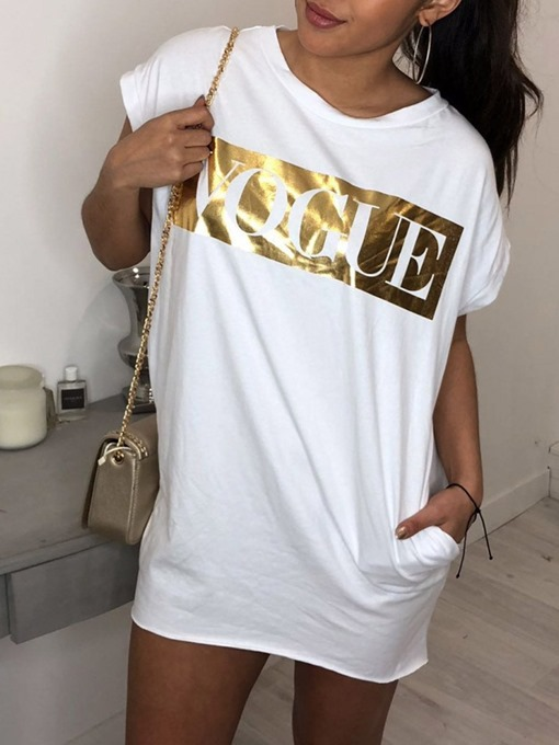 Ericdress Mid-Length Short Sleeve Round Neck Loose T-Shirt