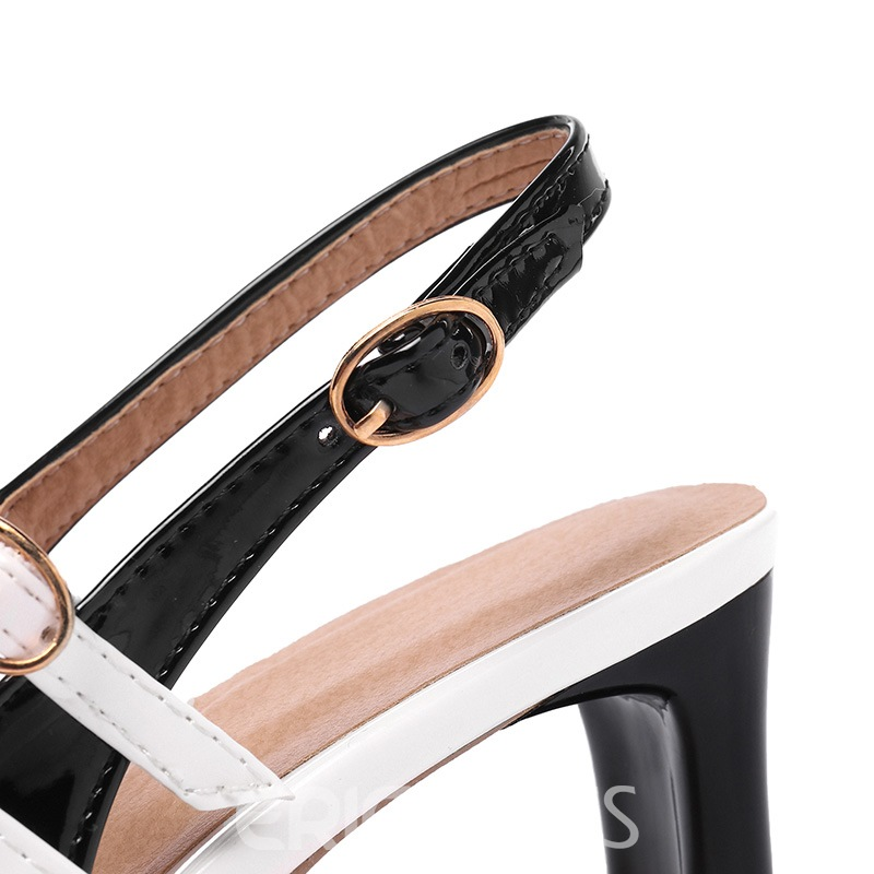 Ericdress Color Block Slingback Strap Square Toe Women's Sandals