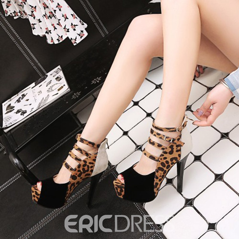Ericdress Leopard Print Peep Toe Zipper Stiletto Heel Women's Pumps