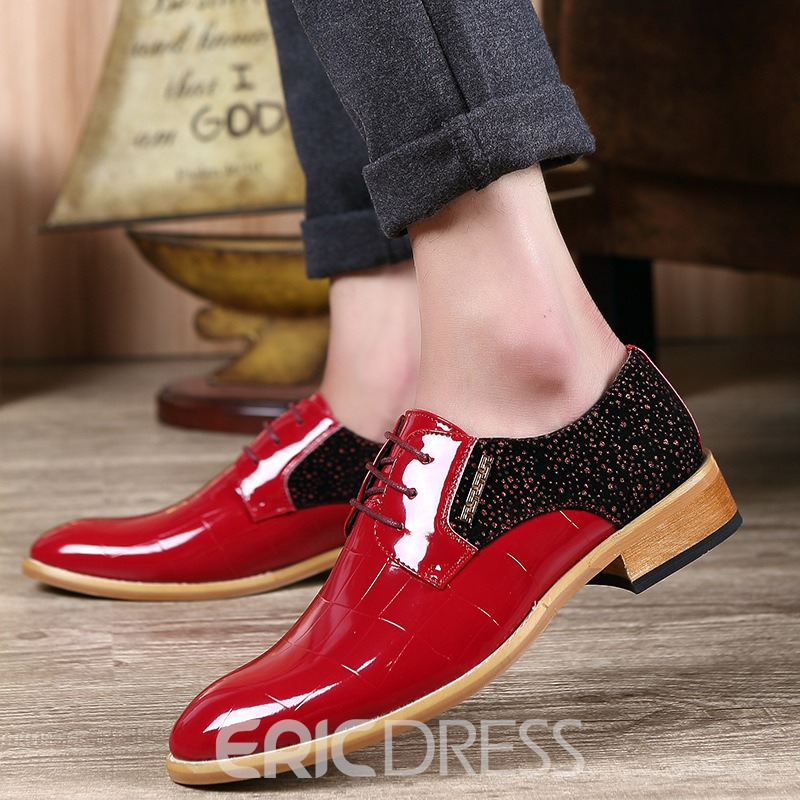 Ericdres Rhinestone Patchwork Pointed Toe Lace-Up Men's Dress Shoes