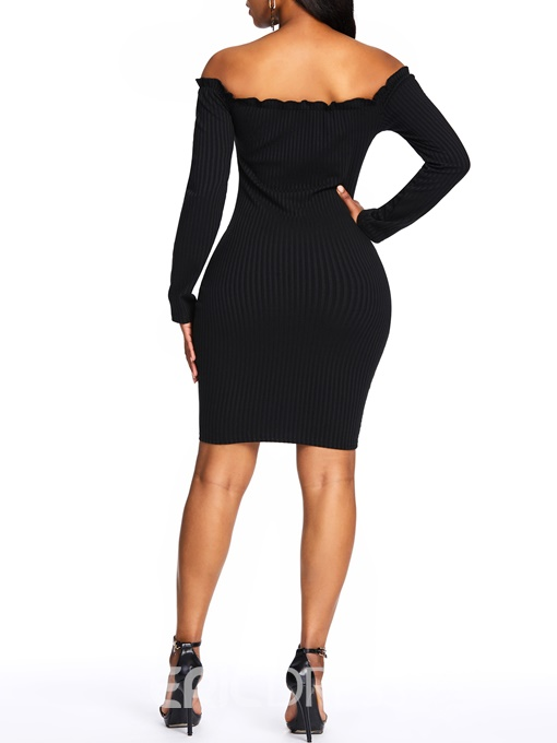Ericdress Off Shoulder Above Knee Button Bodycon Plain Dress