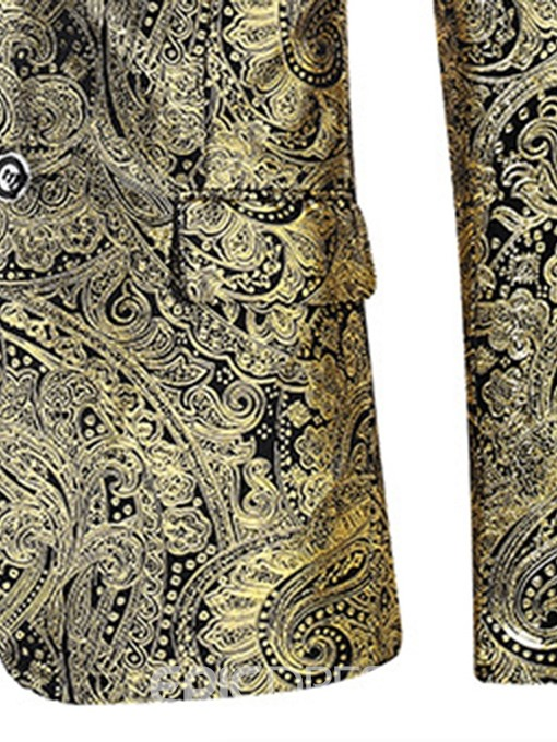 Ericdress Golden Print Single-Breasted Mens leisure Party Blazer