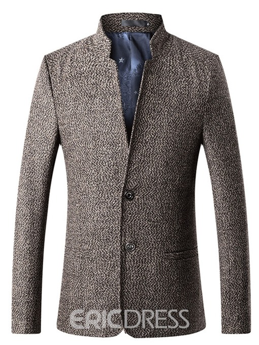 Ericdress Plain Stand Collar Two Button Mens Slim Casual Blazer