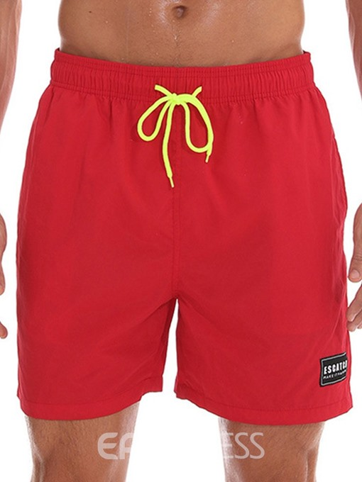 Ericdress Plain Loose Lace-Up Mens Casual Beach Swim Shorts