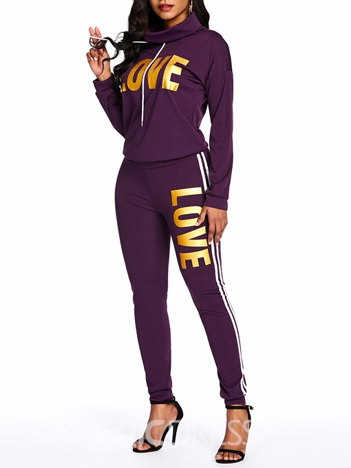 Ericdress Letter Print Casual Sport Hoodie And Pant Two Piece Sets