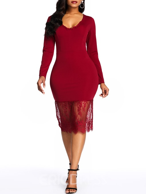 Ericdress Lace V-Neck Mid-Calf Pullover Plain Dress