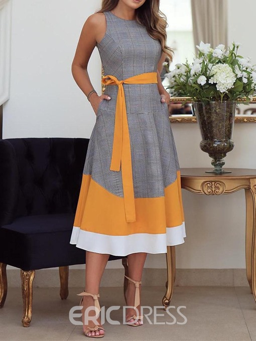 Ericdress Lace-Up Round Neck Mid-Calf Color Block A-Line Dress