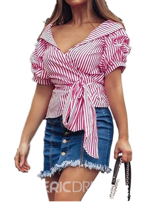 Ericdress Lace-Up Puff Sleeve Stripe Standard Short Sleeve Blouse