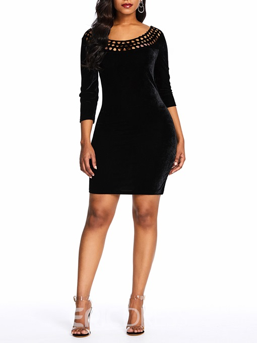 Ericdress Above Knee Hollow Three-Quarter Sleeve Pullover Dress