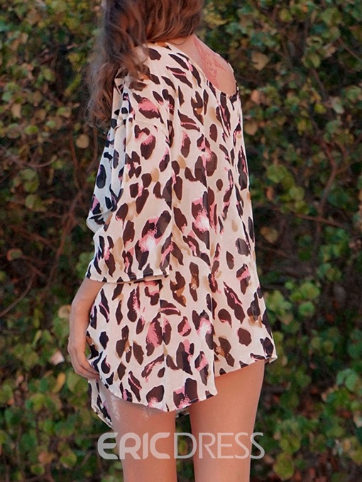 Ericdress Leopard Round Neck Print Mid-Length Three-Quarter Sleeve Blouse