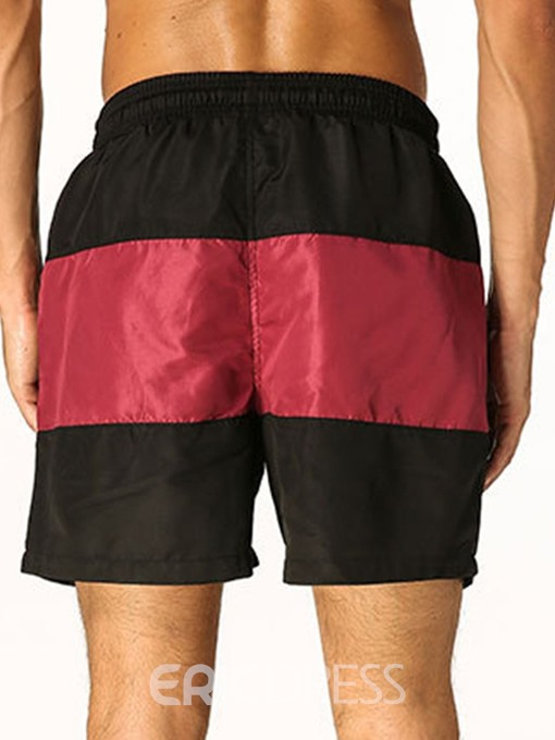 Ericdress Patchwork Color Block Lace-Up Mens Casual Beach Swim Shorts