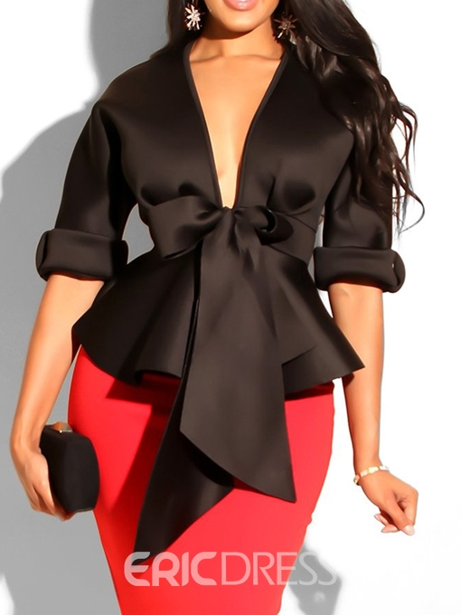 Ericdress African Fashion Bowknot Plain Blouse
