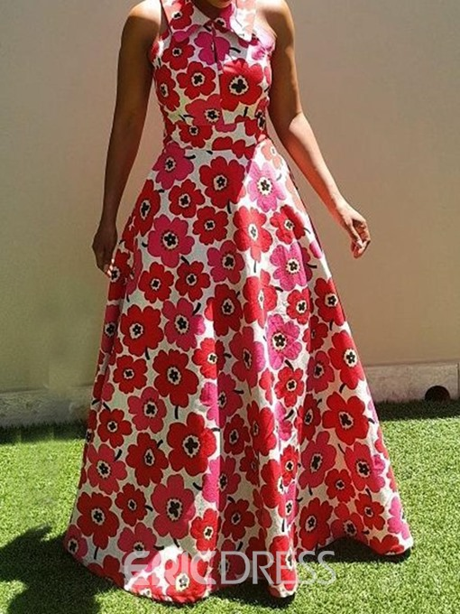 Ericdress African Fashion Floor-Length Sleeveless Expansion Floral Dress