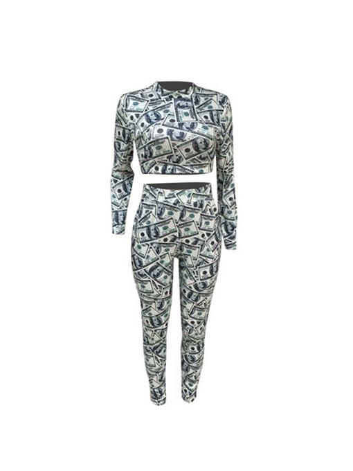 Ericdress Slim Print Casual Turtleneck T-shirt And Pants Two Piece Sets