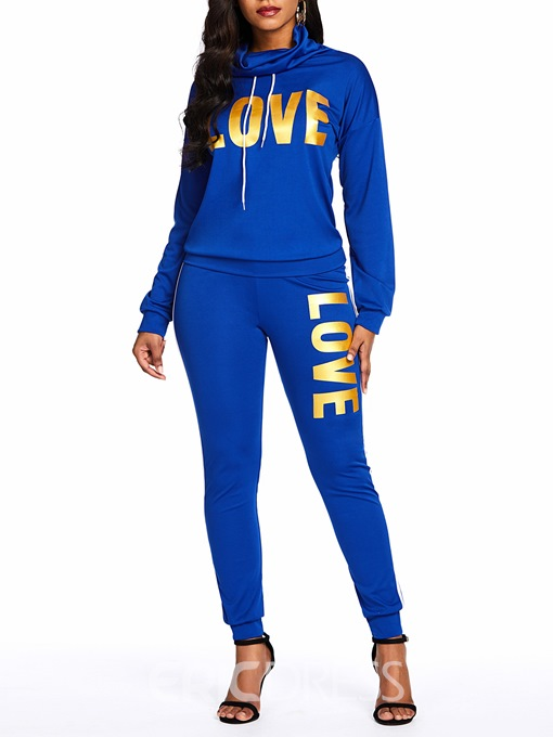 Ericdress Print Letter Casual Sport Hoodie And Pant Two Piece Sets