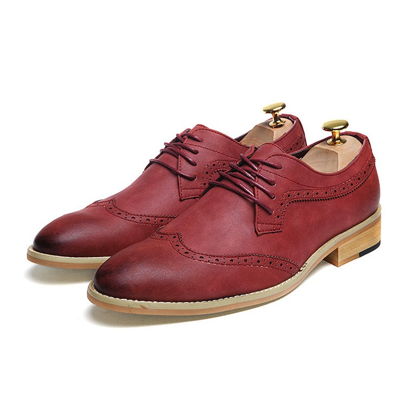 Ericdress PU Lace-Up Round Toe Men's Dress Shoes