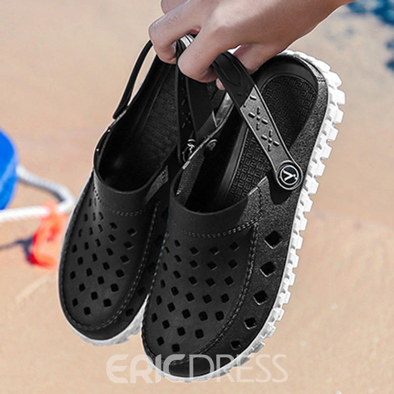 Ericdress PVC Hollow Slip-On Round Toe Men's Sandals