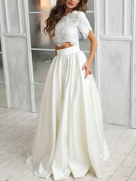 Ericdress Two Pieces Appliques Beach Wedding Dress 2019