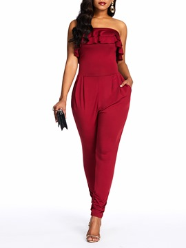 Ericdress Plain Pocket Casual Slim Ruffles Jumpsuit
