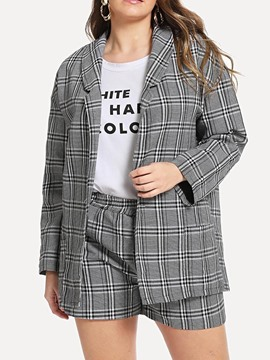 Ericdress Plus Size Office Lady Plaid Coat And Shorts Two Piece Sets