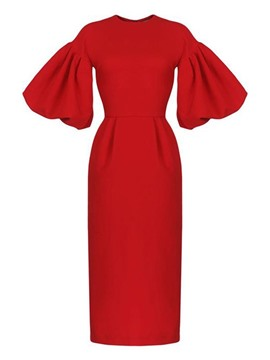 ericdress col rond manches mi-mollet robe mi-mollet / cocktail