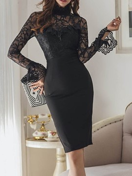 Ericdress Long Sleeve Round Neck Mid-Calf Lace Bodycon Dress