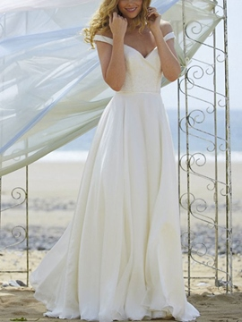 Ericdress A-Line Button Off-The-Shoulder Beach Wedding Dress 2019